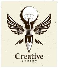Pencil With Idea Light Bulb Co...
