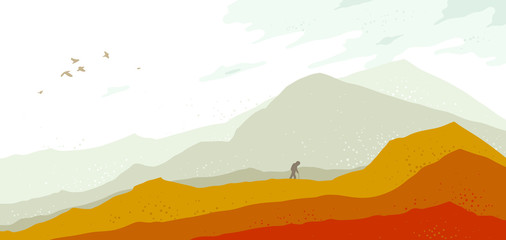 Beautiful scenic nature landscapewith traveler pilgrim vector illustration autumn season with grasslands meadows hills and mountains, fall hiking traveling trip to the countryside concept.