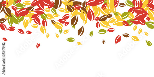 Fotografering Falling autumn leaves. Red, yellow, green, brown c