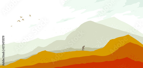 Obraz Beautiful scenic nature landscapewith traveler pilgrim vector illustration autumn season with grasslands meadows hills and mountains, fall hiking traveling trip to the countryside concept. - fototapety do salonu