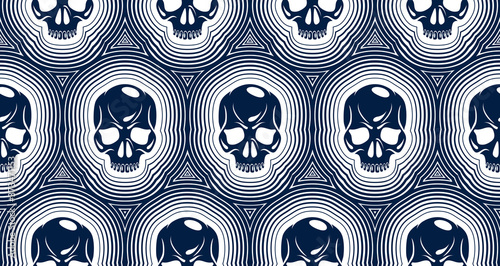 Skulls seamless pattern, vector background with crazy sculls for Hard Rock and Rock N Roll subculture prints textile, hazard and danger, horror and death theme Fotobehang