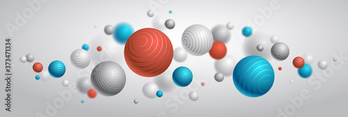 Tablou Canvas Abstract spheres vector background, composition of flying balls decorated with lines, 3D mixed realistic globes, realistic depth of field effect