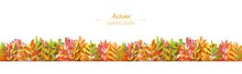 Autumn Leaves Seamless Border In Paper Cut Style. Vector 3d Illustration Of Different Color Leaf, With Shadow. Cut Out Of Cardboards Elements, Decoration Of Autumn Holiday On White Background