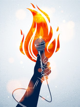 Microphone In Hand On Fire, Hot Mic In Flames Live Show, Rap Battle Rhymes Music, Concert Festival Or Night Club Label, Karaoke Singing Or Standup Comedy, Vector Logo, T-shirt Print.