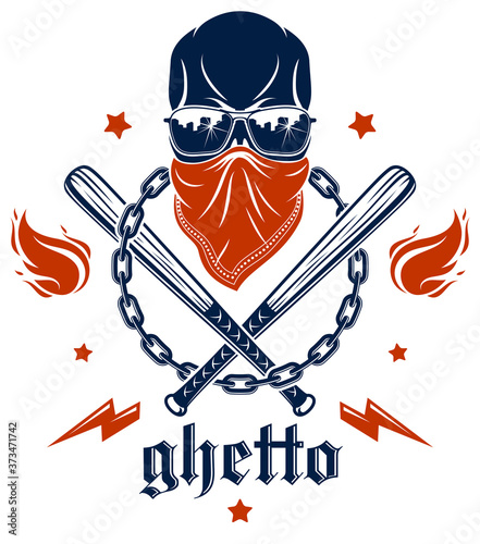 Brutal gangster emblem or logo with aggressive skull baseball bats and other weapons and design elements, vector anarchy crime or terrorism retro style, ghetto revolutionary Wallpaper Mural