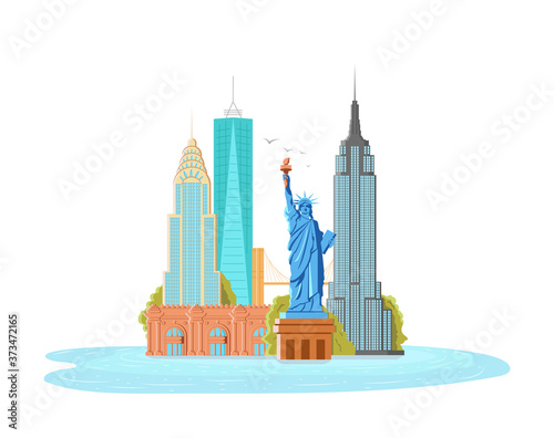 Fotomural Illustration of New York City, vector landscape of buildings and the Statue of L