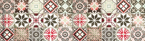 Fotografering Colorful abstract vintage retro geometric square mosaic motif tiles texture back