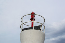 Solar Powered Lighthouse In Montenegro, Solar Battery In The Beacon
