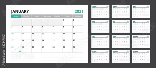 Obraz 2021 calendar planner set for template corporate design week start on Sunday. - fototapety do salonu