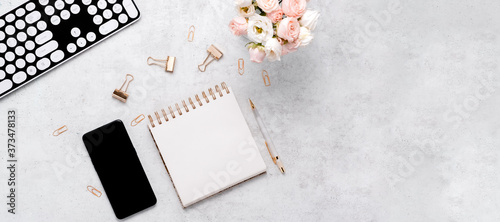 Vászonkép Stationery business flatlay creative composition