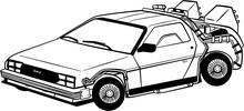 Back To The Future DeLorean Outline Illustration