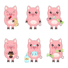 Good Morning With Cute Little Cartoon Pigs, Vector Isolated Collection Of Illustrations For Children. Piglet Yawns, Holds A Towel, Sniffs A Cup Of Coffee, Cleans Teeth, Washes Hands, Does Exercises.
