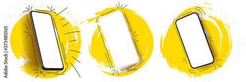 Obraz Set of realistic smartphone with splash color . Artistic technological vector - fototapety do salonu