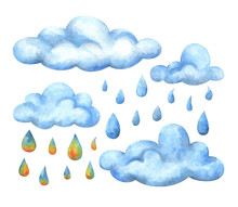 Blue Cumulus Clouds And Colored Raindrops. Watercolor Illustrations Isolated On A White Background. Stock Image, A Set Of Elements For The Design Of The Sky And Autumn, Rainy Weather