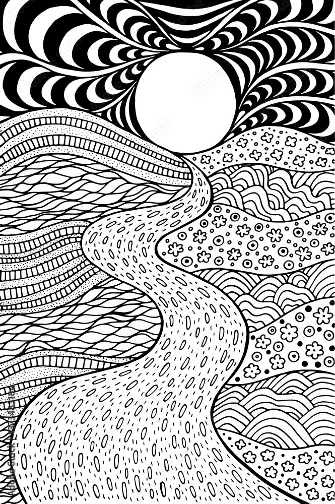 Fototapeta Psychedelic landscape. Coloring page for adults. Pathway in meadows and waves. Seaside illustration. Doodle drawing. Vector artwork