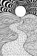 Psychedelic landscape. Coloring page for adults. Pathway in meadows and waves. Seaside illustration. Doodle drawing. Vector artwork
