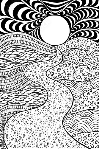 Obraz Psychedelic landscape. Coloring page for adults. Pathway in meadows and waves. Seaside illustration. Doodle drawing. Vector artwork - fototapety do salonu