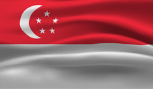 Waving Flag Of The Singapore. ...