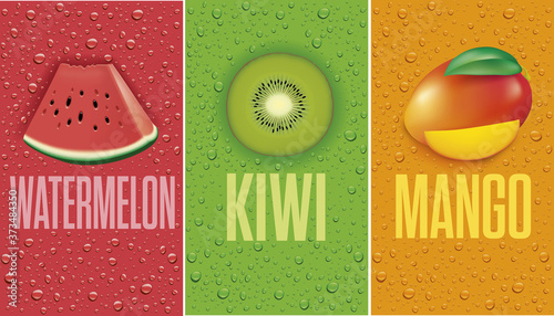 many fresh juice drops background with watermelon, kiwi, mango