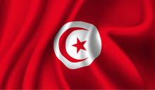 Waving Flag Of The Tunisia. Waving Tunisia Flag