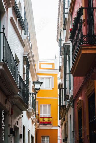 Obraz na plátně Street view of downtown in Seville city, Spain
