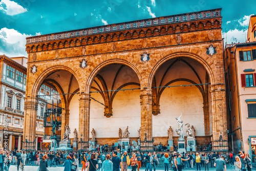FLORENCE, ITALY- MAY 13, 2017:  Piazza della Signoria, Loggia Della Signoria (Loggia dei Lanzione) of the most famous buildings of the city Wallpaper Mural