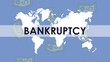 bankruptcy financial animation with bills dollars and earth map