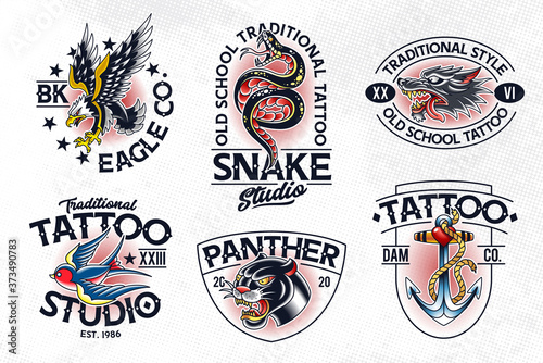 Old School Tattoo Vector Emblems Wallpaper Mural