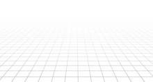 Perspective Vector Grid Disappearing Into The Horizon. Wireframe Landscape On White Background.