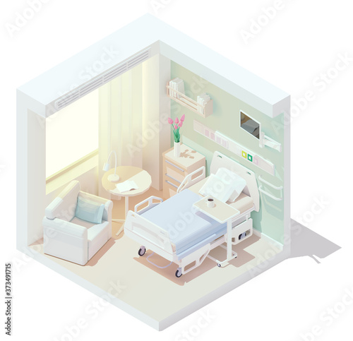Vector isometric low poly cozy hospital room Wallpaper Mural