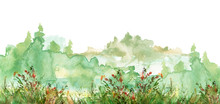 Watercolor Countryside Landscape, Forest Landscape. Colorful Background, Reminiscent Of A Forest Landscape. Silhouetted By The Forest Trees On The Shore. Silhouette Of Wild Grass, Flowers, Shrub.