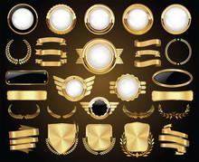 Collection Of Golden Badges Labels Laurels Shield And Metal Plates