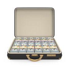 Case Full Of Money Isolated