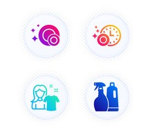 Clean Dishes, Clean Shirt And Dishwasher Timer Icons Simple Set. Button With Halftone Dots. Shampoo And Spray Sign. Dishwasher Concept, Laundry T-shirt, Cleaning Dishes. Washing Liquids. Vector