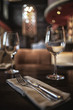 canvas print picture fork and knife serving in the interior of the restaurant / table in a cafe, food industry catering, menu