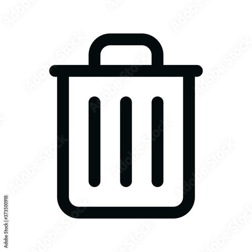 Cuadros en Lienzo Trash bin isolated icon, empty trash bin linear icon, delete outline vector icon