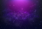 abstract starry Space purple with shining star dust and nebula. Realistic galaxy with milky way and planet background