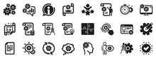 Set Of Idea Bulb, Dividers Tools And Blueprint Icons. Engineering Icons. Cogwheel, Calculate Price, Mechanical Tools. Idea Bulb With Cog, Architect Dividers, Engineering People. Vector