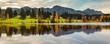 canvas print picture - Wasserspiegelung der Alpen in einem See im Allgäu