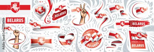 Fotografia Vector set of the national flag of Belarus in various creative designs