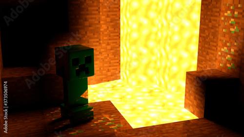 Minecraft Creeper in cave 4K Photo Fotobehang