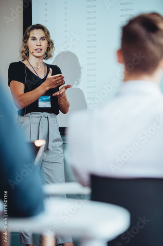 Public speaker at a conference