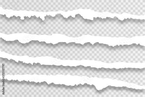 Canvastavla Transparent realistic ripped paper shadow set