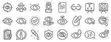 Medical Laser Surgery, Glasses And Eyedropper. Optometry, Eye Doctor Line Icons. Pink Eye, Cataract Surgery And Allergy Icons. Vision Exam Problem, Optician Board, Oculist Chart. Vector