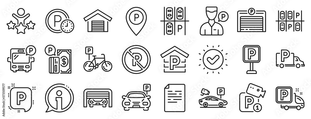 Fototapeta Car garage, Valet servant and Paid transport parking icons. Parking line icons. Video monitoring, Bike or Car park and Truck or Bus transport garage. Money payment, Map pointer and Free park. Vector