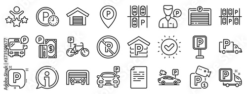 Canvastavla Car garage, Valet servant and Paid transport parking icons