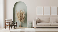 Empty Poster Frames On Beige Wall In Living Room Interior With Modern Furniture And Decorative Green Arch With Trendy Dried Flowers, White Sofa And Armchair, 3d Render