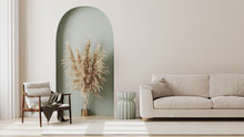 Living Room Interior Mock Up, Modern Furniture And Decorative Green Arch With Trendy Dried Flowers, White Sofa And Armchair, 3d Render