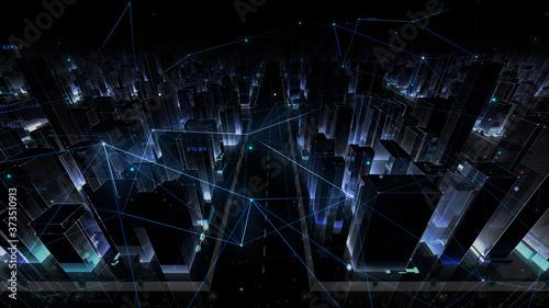 Digital City Network Building Technology Communication Data Business 3D illustration Background