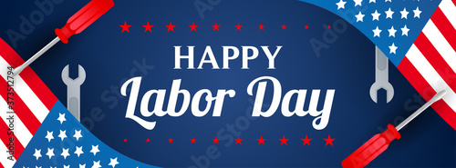 Fotografija Happy USA Labor Day Banner vector illustration
